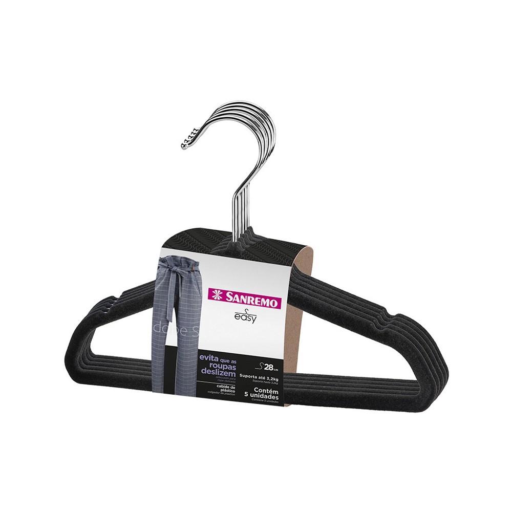 Cabide para Roupas 5 Peças de Plástico Aveludado 28Cm Sanremo