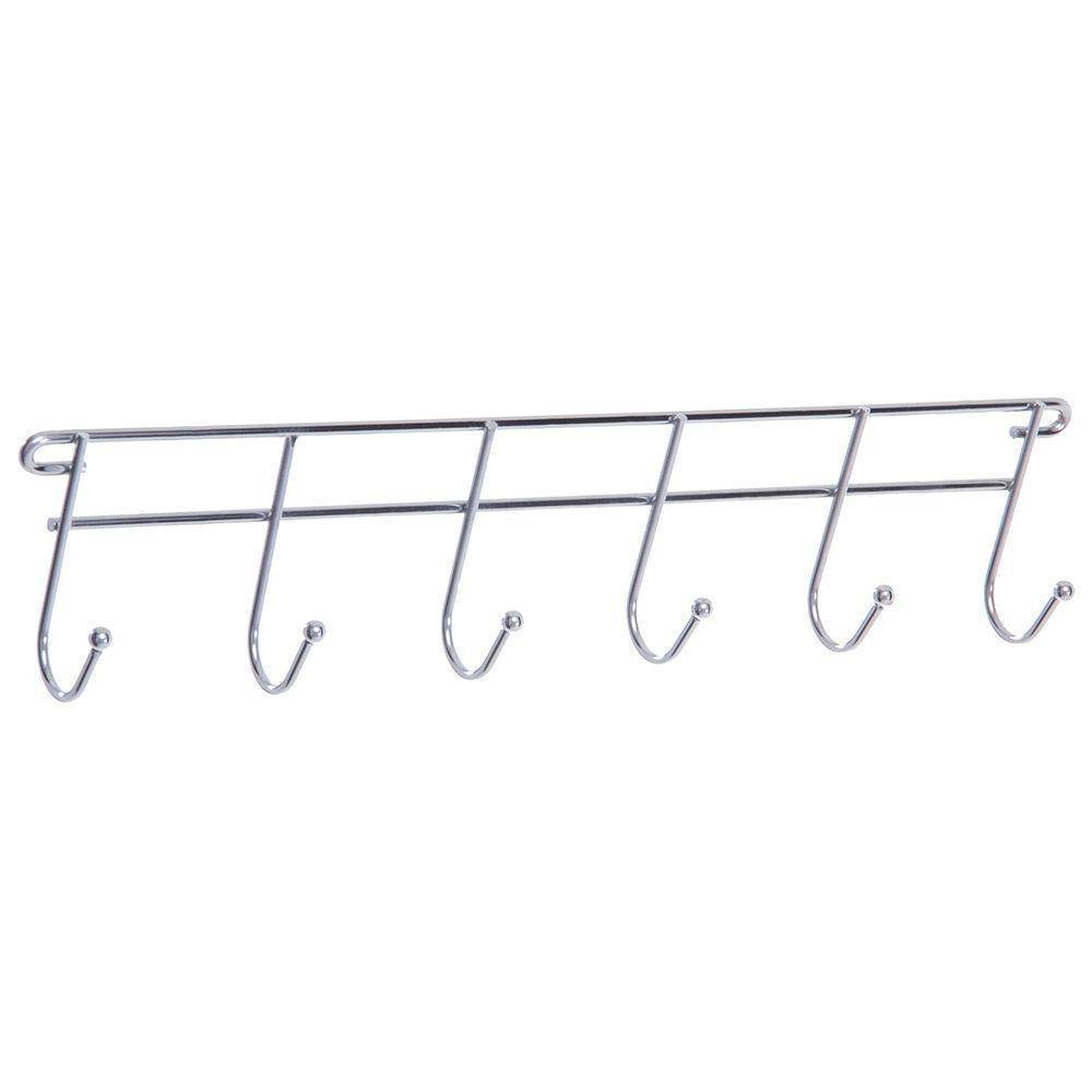 Cabide Pendura Porta ou Parede para Roupas de Aço Cromado Aramado com 6 Ganchos