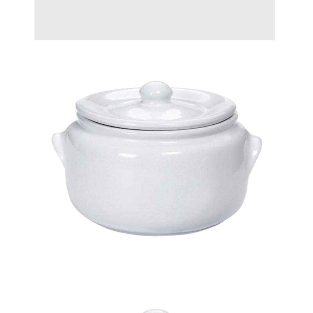 Caçarola 23Cm de Ceramica com Tampa Branca