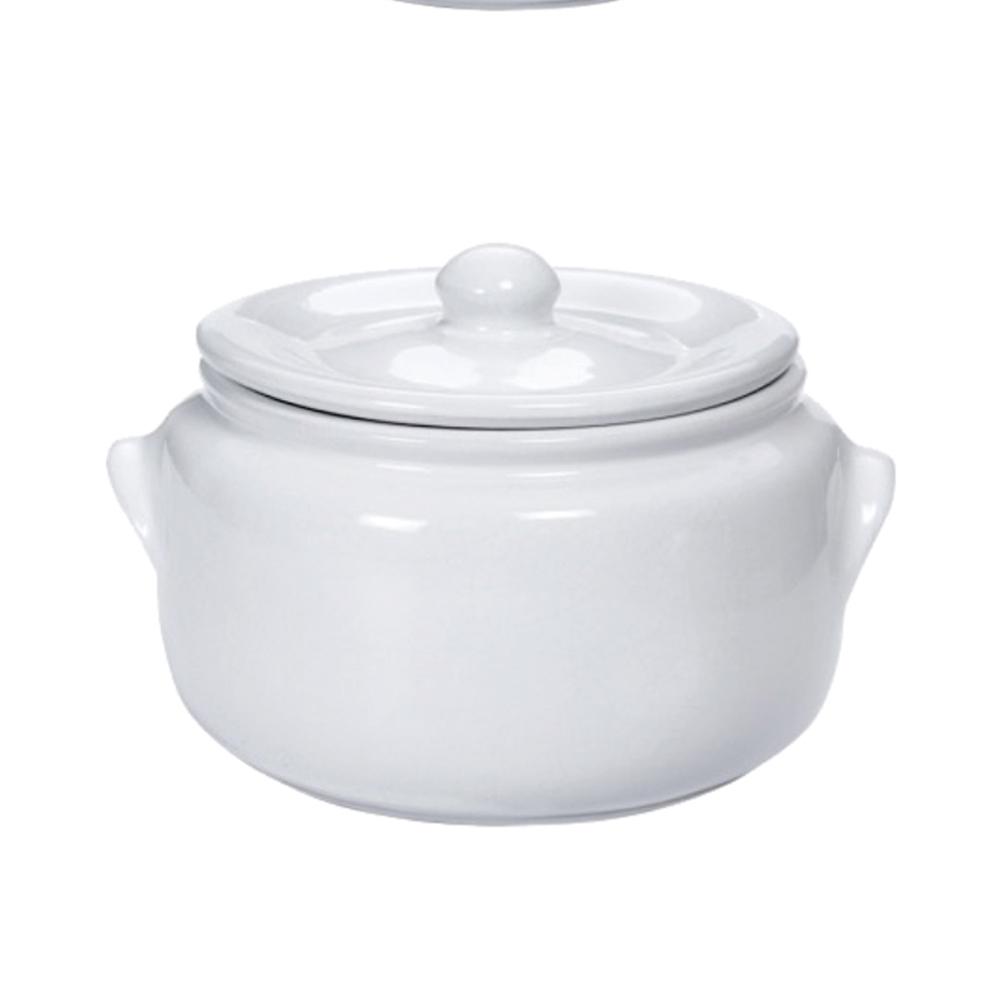 Caçarola 27,5Cm de Cerâmica com tampa Branca