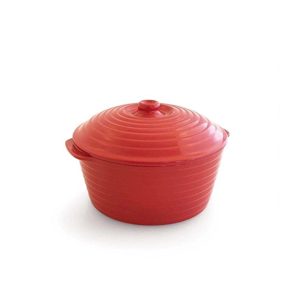 Caçarola de Cerâmica com Tampa Gourmet Vermelha 23Cm