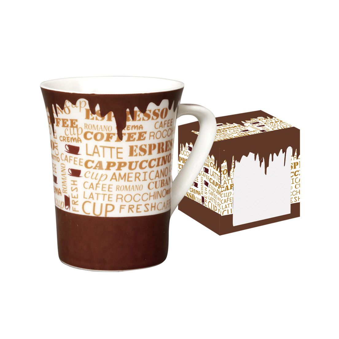 Caneca de Porcelana Fina 330Ml Coffe