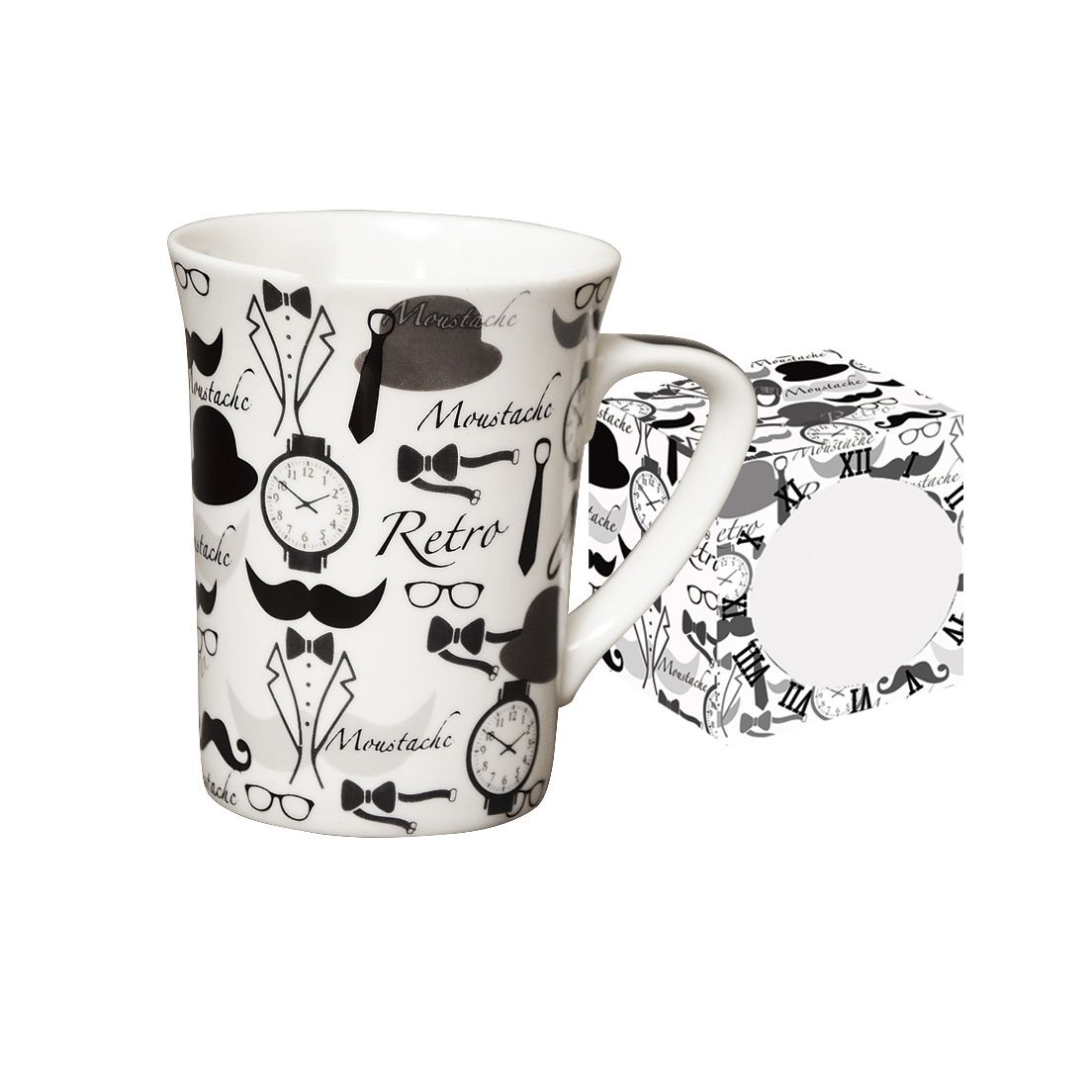 Caneca de Porcelana Fina 330Ml Retro