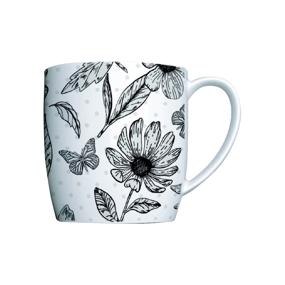 Caneca de Porcelana Decorada 360Ml Urban Botânicos