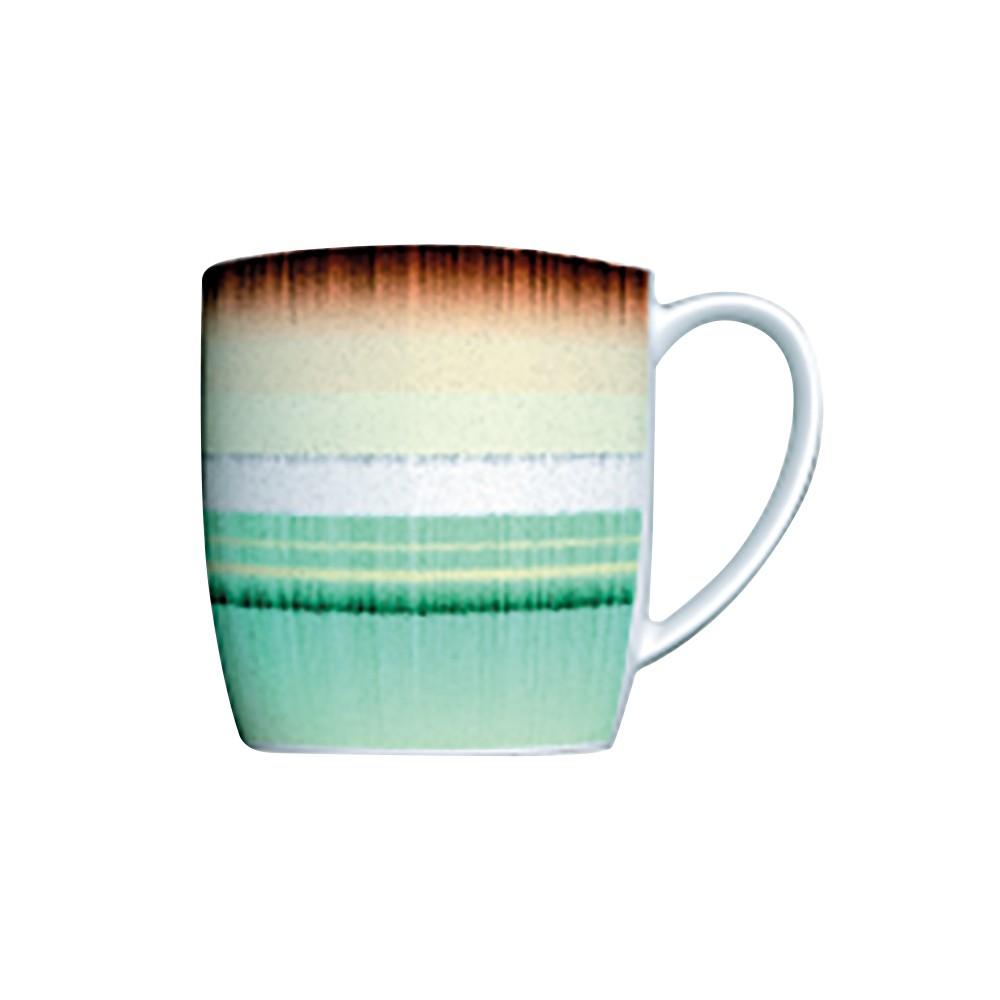 Caneca 360Ml de Porcelana Decorada Mãe Terra Verde