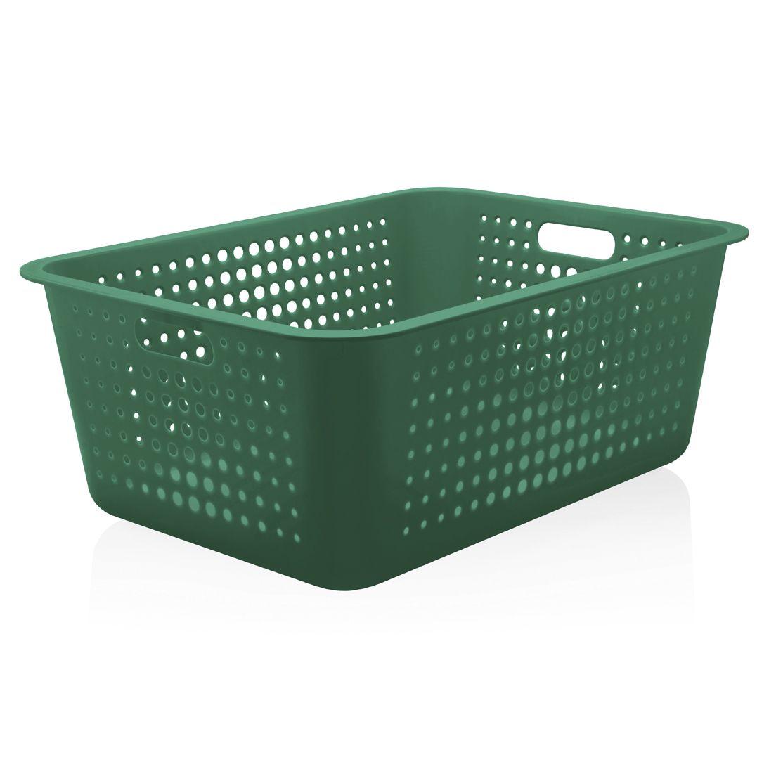 Cesta Organizadora de Polipropileno Empilhável Verde Botânico Maxi 40L