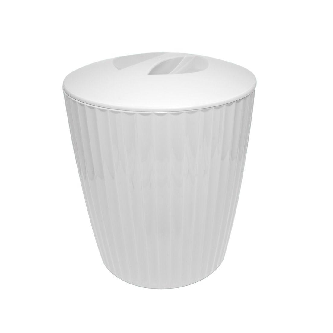 Lixeira para Banheiro de Plástico com Tampa Groove Branco 5L
