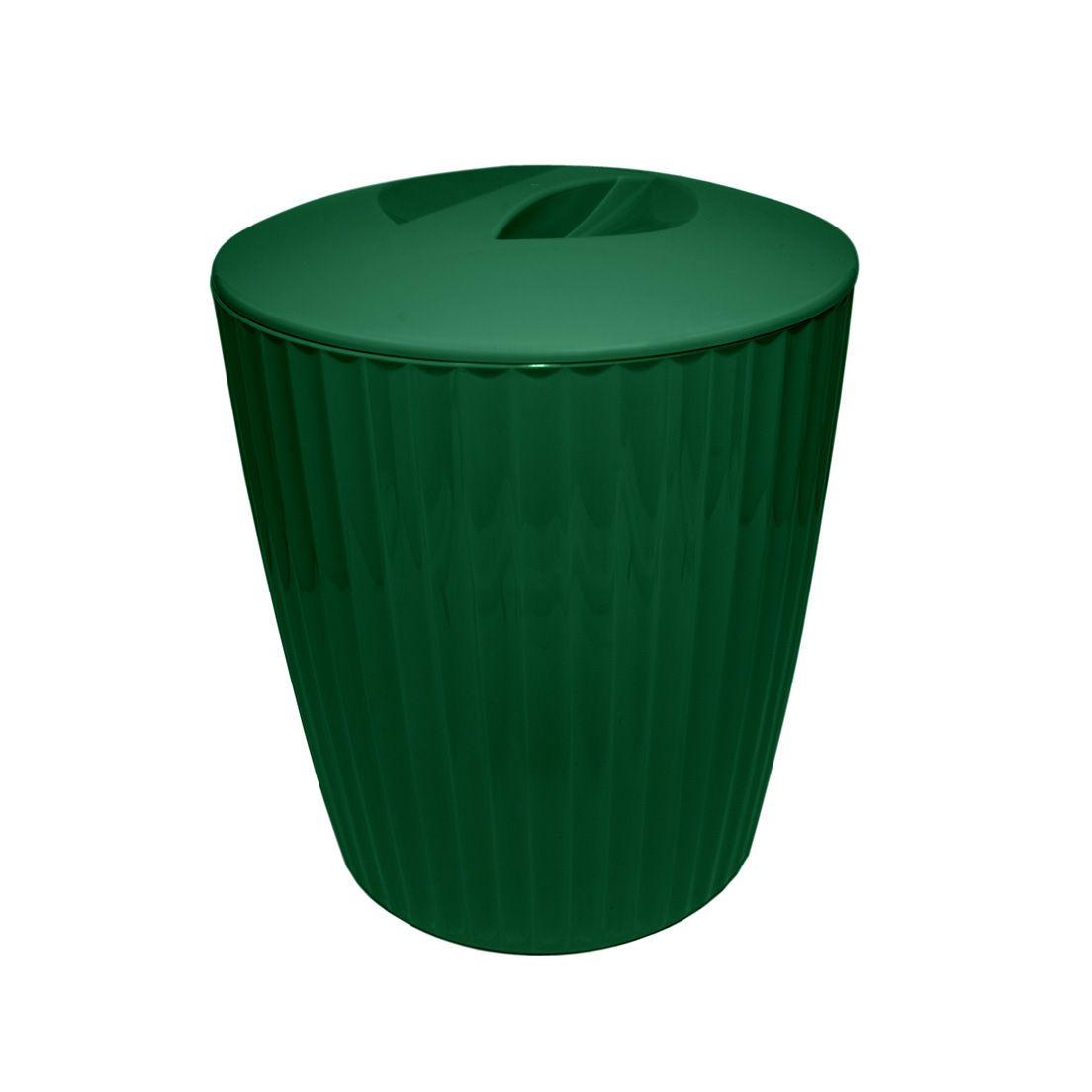 Lixeira Ou Groove 5L de Plástico para Banheiro com Tampa Verde Botânico
