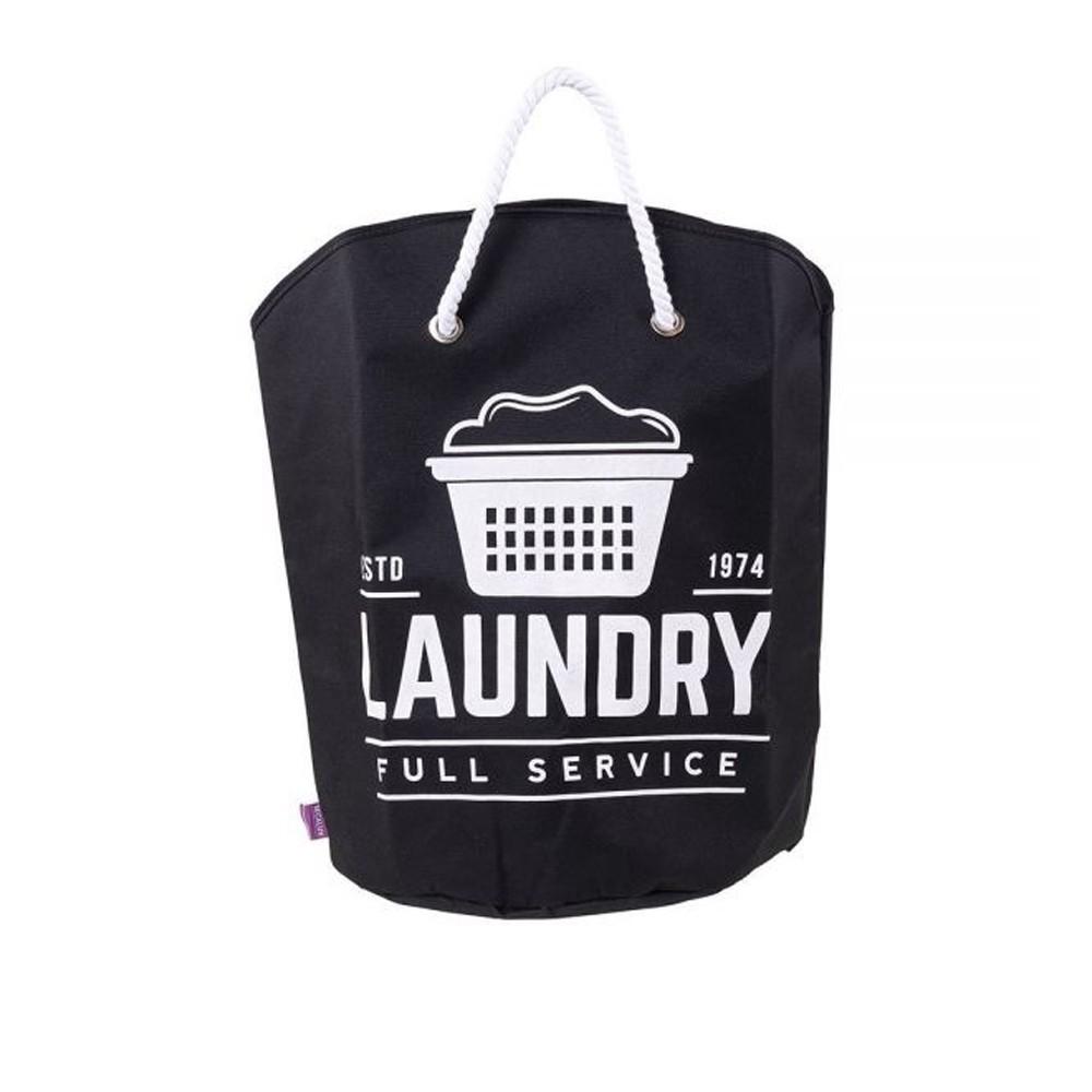 Cesto Organizador para Roupas de Poliéster com Alça 15L Preto Laundry