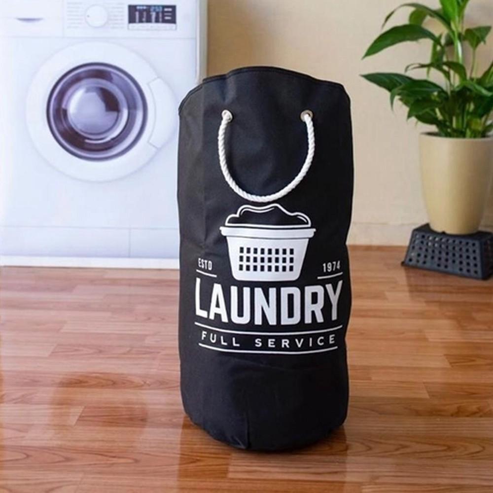 Cesto Organizador para Roupas de Poliéster com Alça 25L Preto Laundry