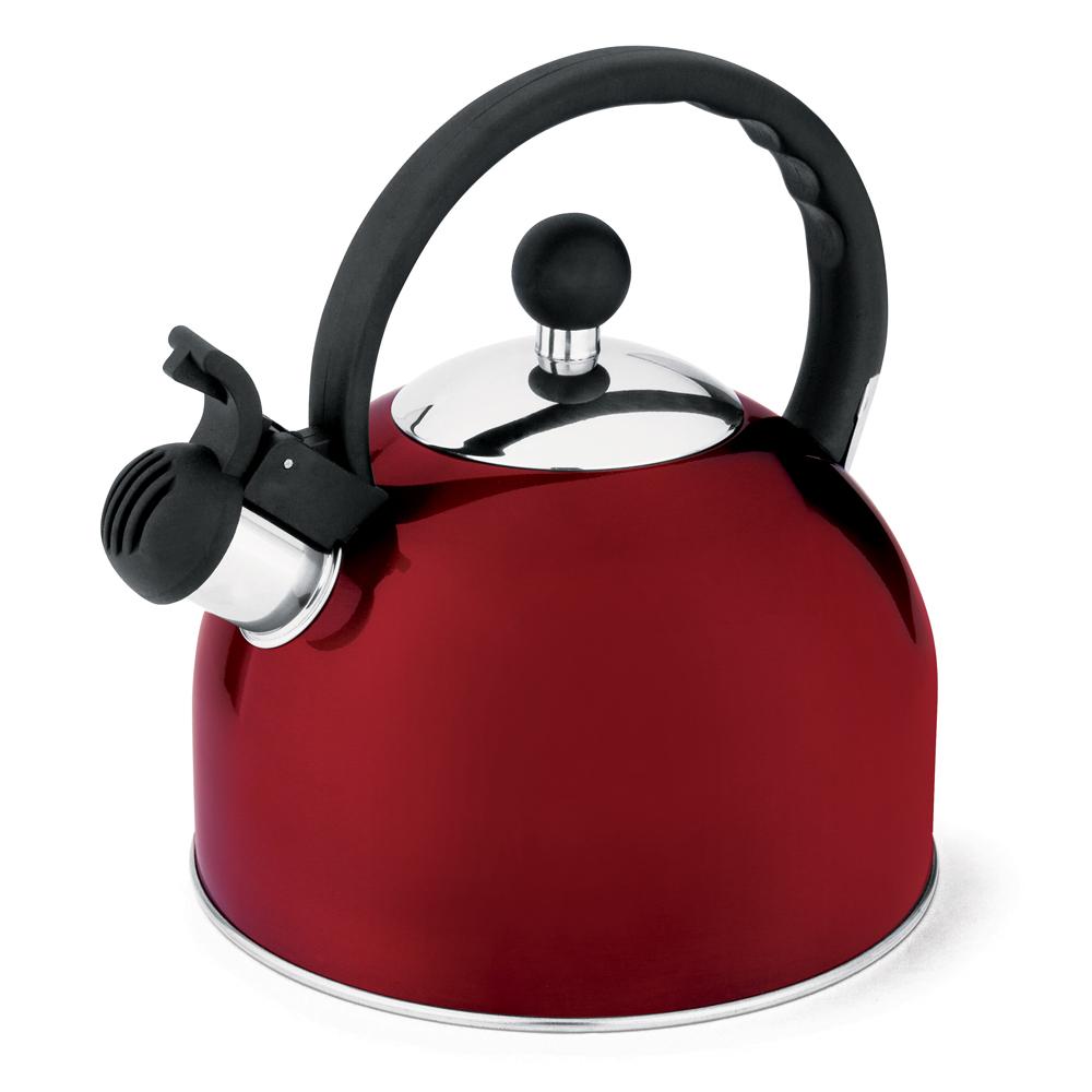 Chaleira 1,75L de Aço Inox com Apito Fixo Hercules Vermelho
