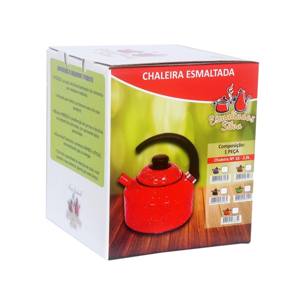 Chaleira 2,2L de Aço Carbono Esmaltada com Alça Baquelite Vermelha