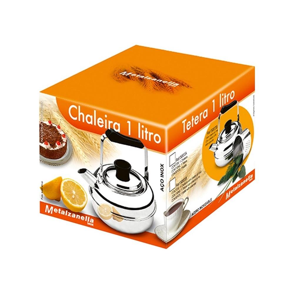 Chaleira para Ferver de Aço Inox com Coador para Chá 1L - 2 Peças