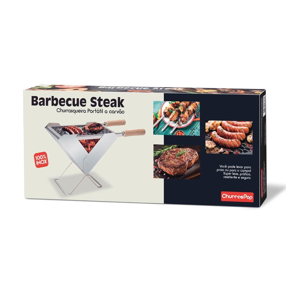 Churrasqueira Churras Pop a Carvão Barbecue Steak de Aço Inox com Cabo de Madeira