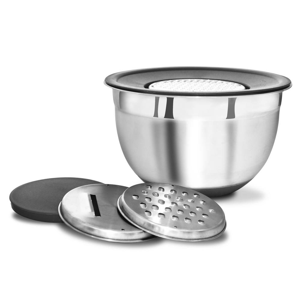 Conjunto de Bowls Tigelas 5 Peças de Aço Inox com Ralador e Fatiador