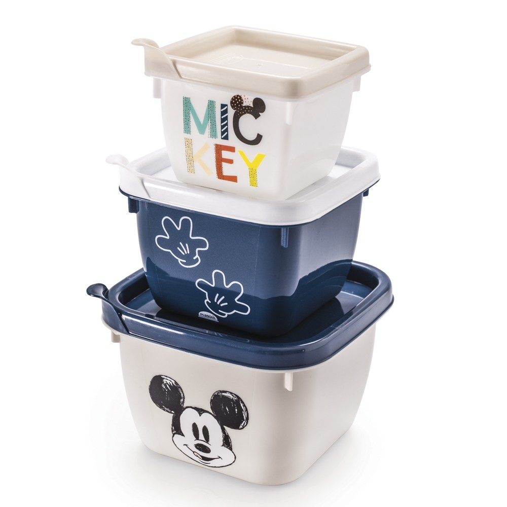 Conjunto de Potes com 3 Peças de Polipropileno Quadrado Conect Mickey Baby