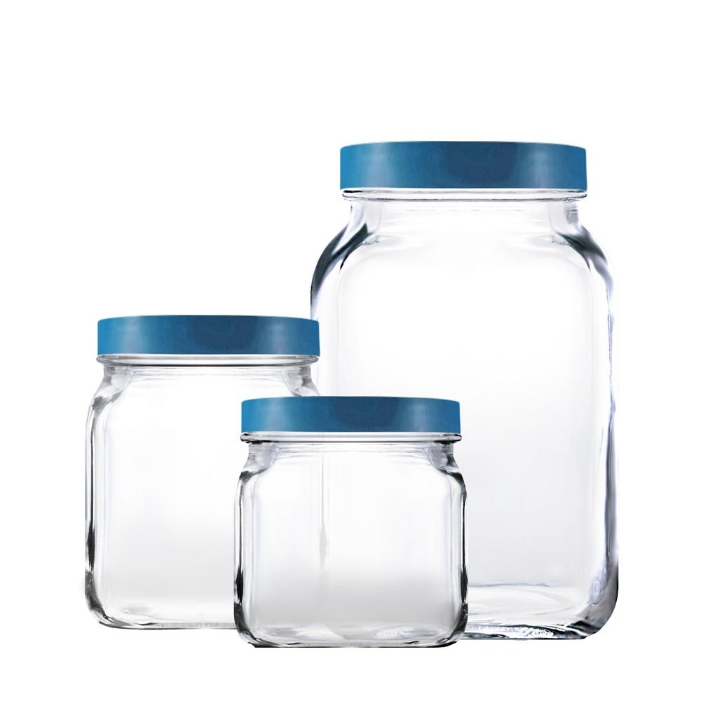 Conjunto de Potes 3 Peças de Vidro com Tampa 900Ml 1,15L 2,2L Style Azul