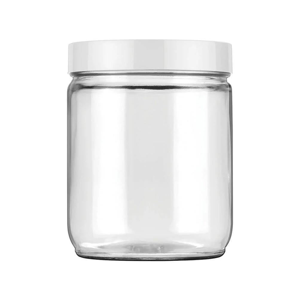 Conjunto de Potes 3 Peças de Vidro Liso 750Ml Eco Branco