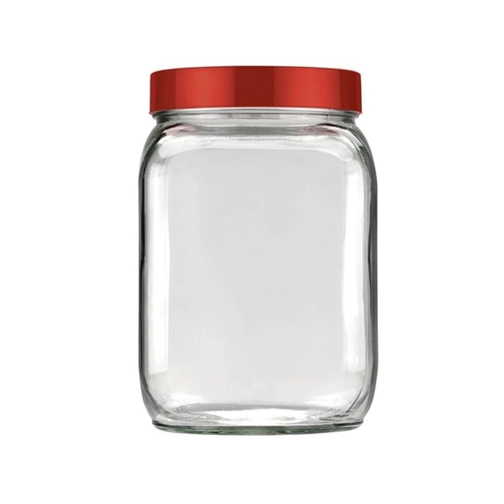 Conjunto de Potes 3 Peças de Vidro Liso 1,3L Eco Vermelho Velvet
