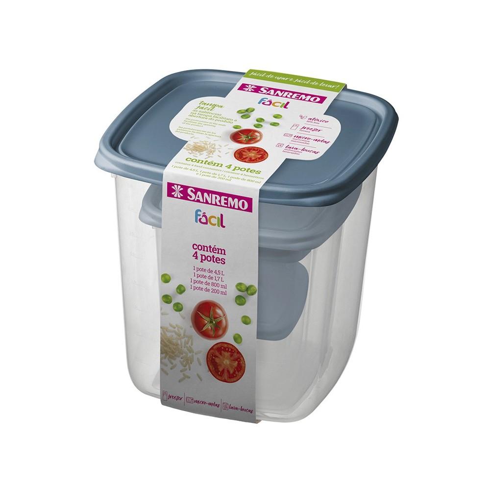 Conjunto de Potes com 4 Peças de Plástico com Graduação de Volume Freezer e Micro Ondas Sanremo