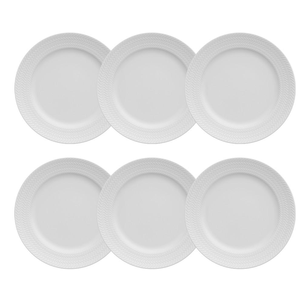 Conjunto de Pratos Germer Chevron 21cm de Porcelana para Sobremesa 6 Peças