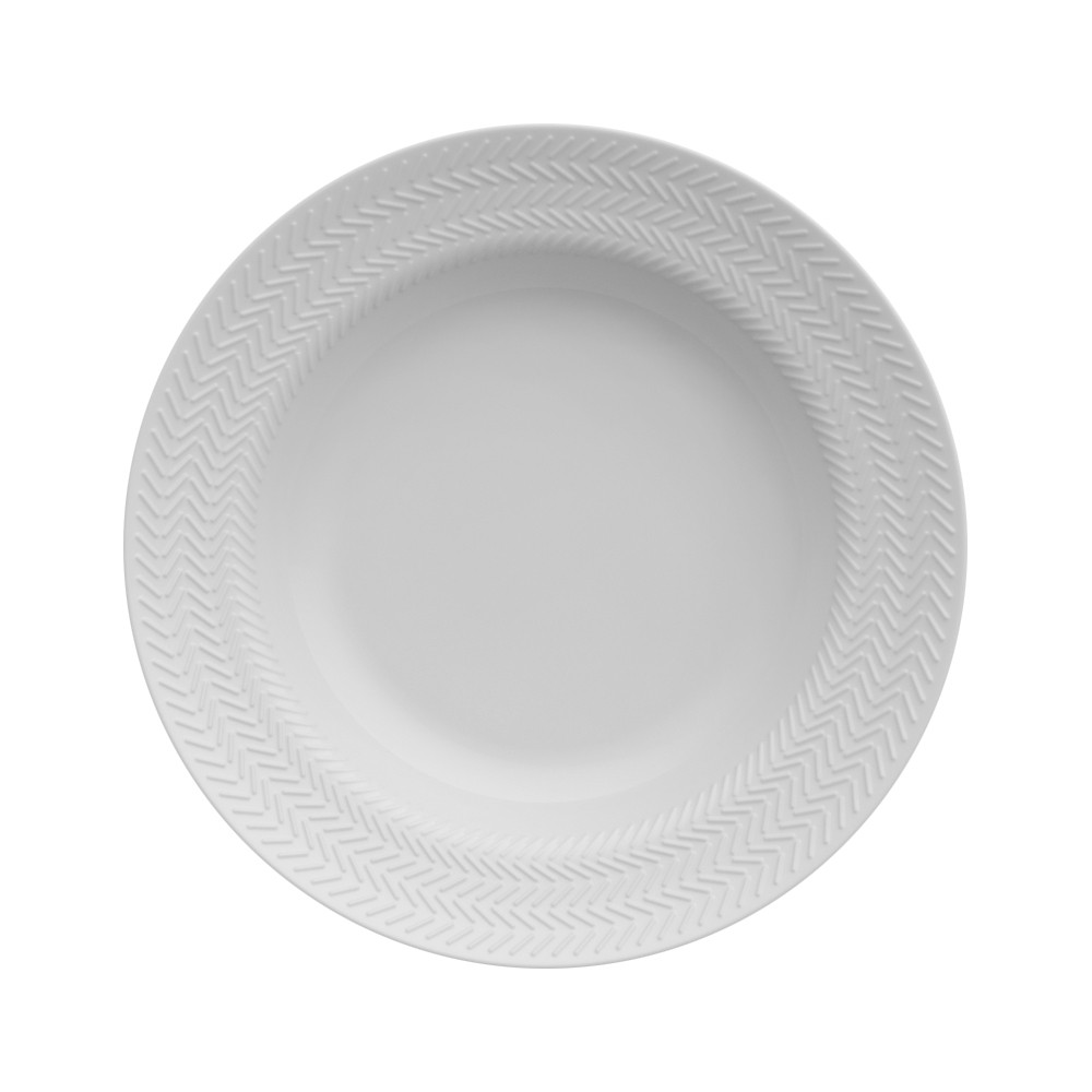 Conjunto de Pratos Fundos para Mesa com 6 Peças de Porcelana 24Cm Chevron