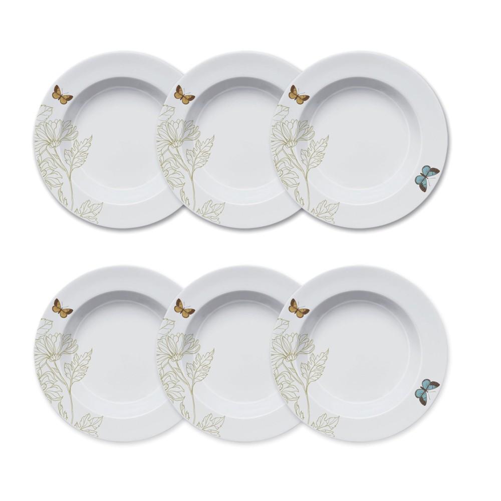 Conjunto de Pratos Fundos para Mesa 6 Peças de Porcelana 24Cm Milão
