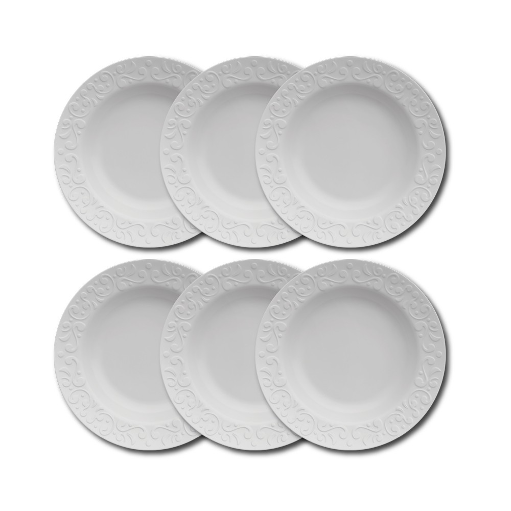 Conjunto de Pratos Fundos para Mesa 6 Peças de Porcelana 24Cm Tassel