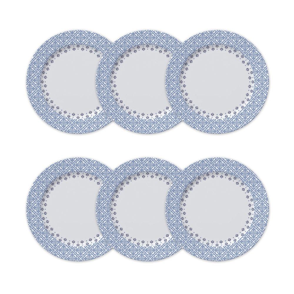 Conjunto de Pratos Rasos para Mesa 6 Peças de Porcelana 26,5Cm Lisboa