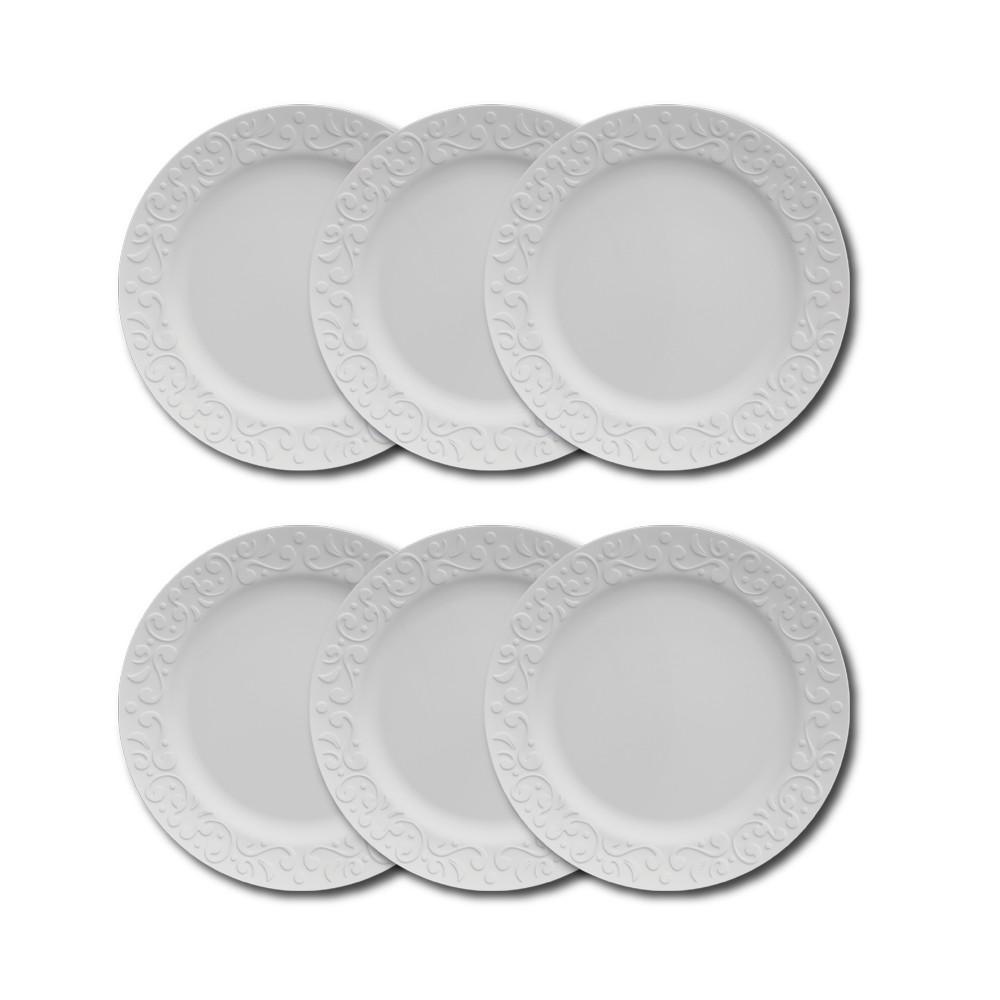 Conjunto de Pratos Rasos para Mesa 6 Peças de Porcelana 26,5Cm Tassel