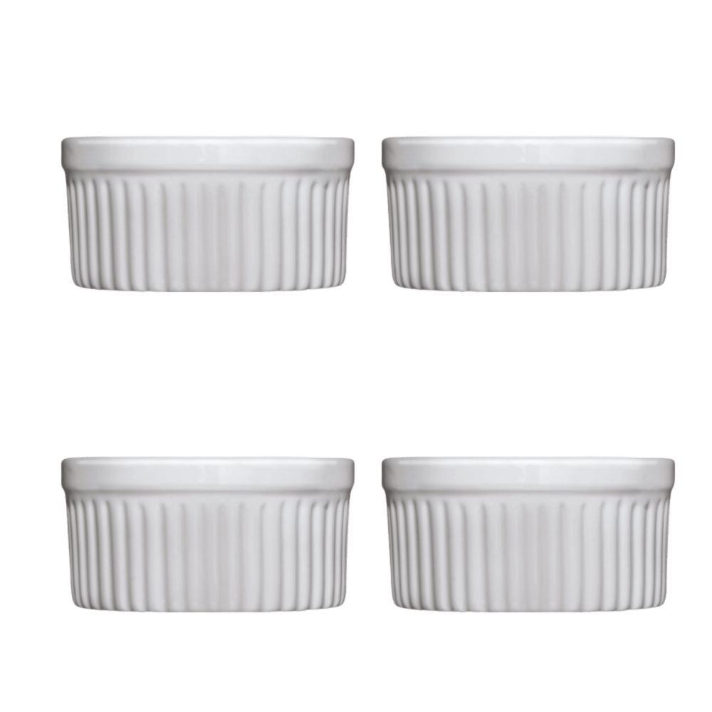 Conjunto de Ramekins para Forno ou Freezer com 4 Peças de Porcelana Branco