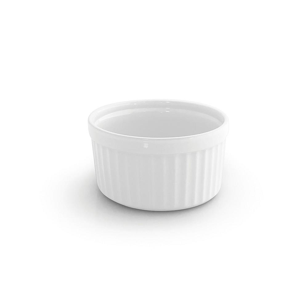 Conjunto de Ramekins para Forno ou Freezer 4 Peças de Cerâmica 9Cm Branco Gourmet