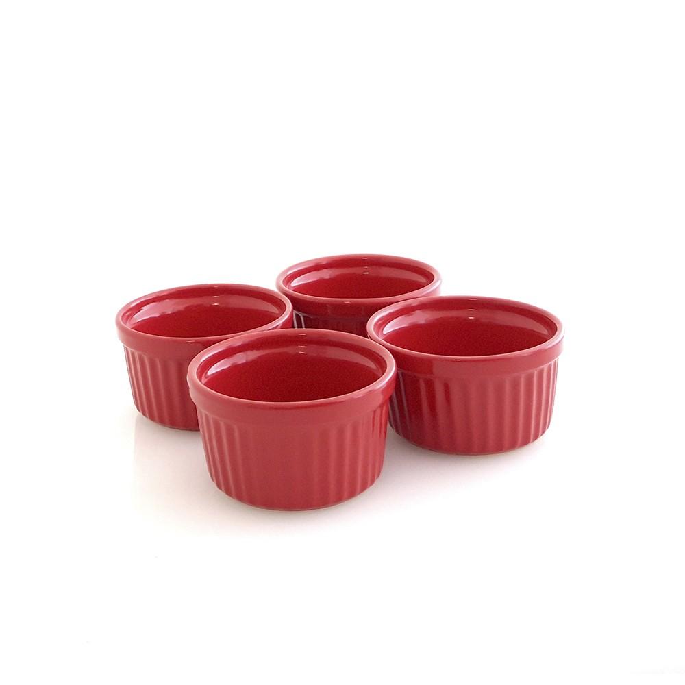 Conjunto de Ramekins para Forno ou Freezer com 4 Peças de Cerâmica 9Cm Vermelho Gourmet