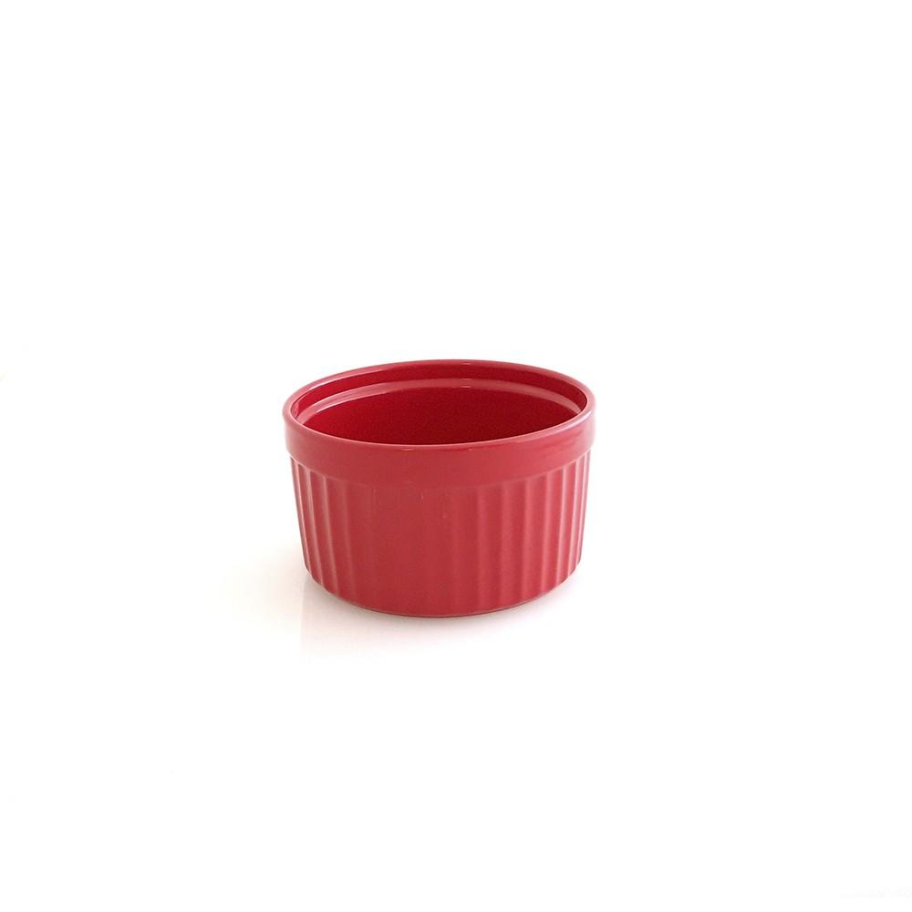 Conjunto de Ramekins Jomafe Gourmet 9cm para Forno ou Freezer de Cerâmica Vermelho 4 Peças