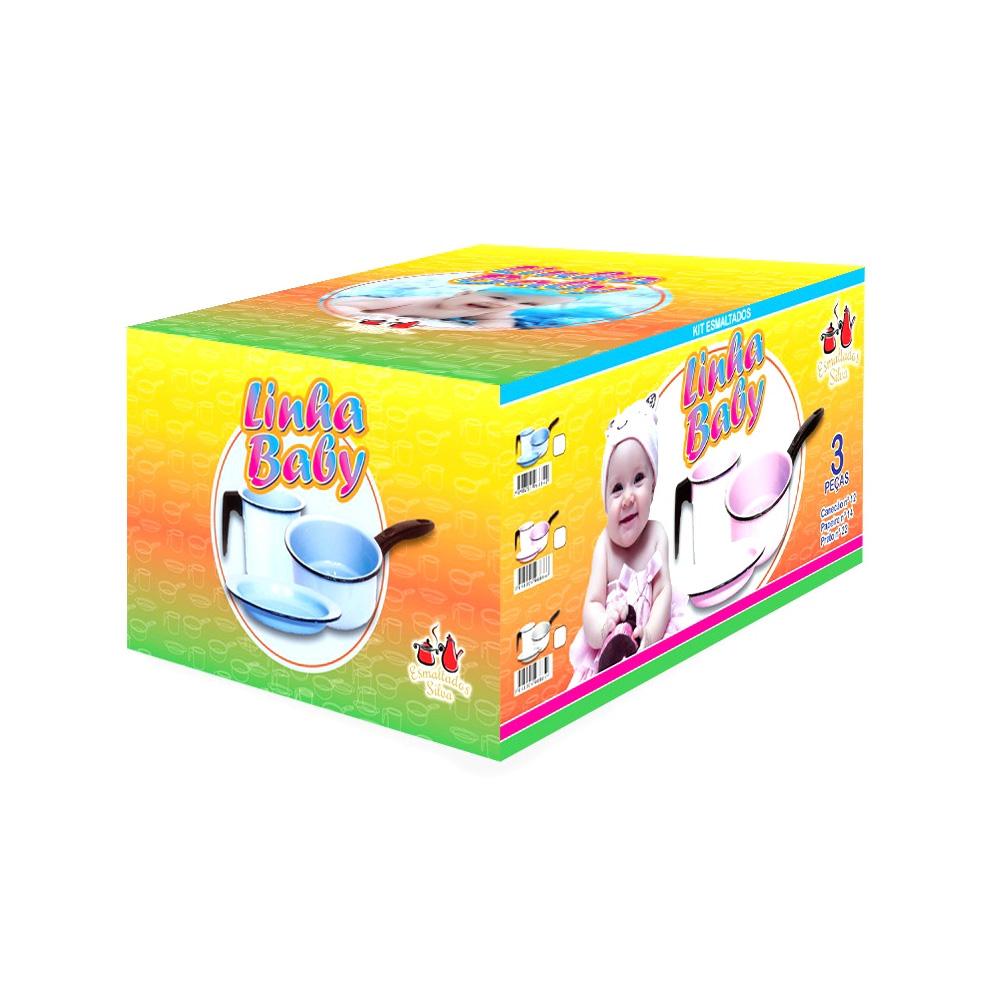 Conjunto Infantil 3 Peças de Aço Carbono Esmaltado Azul Bebê