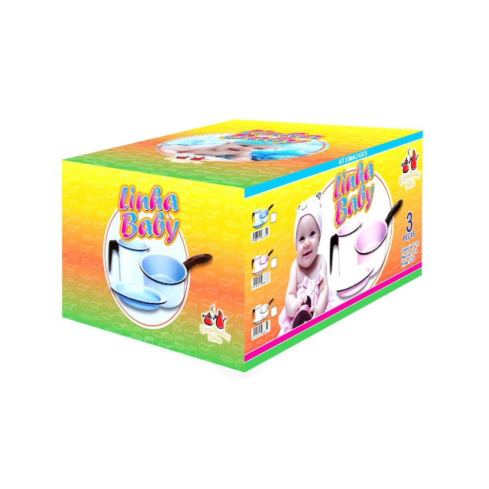 Conjunto Infantil 3 Peças de Aço Carbono Esmaltado Rosa Bebê