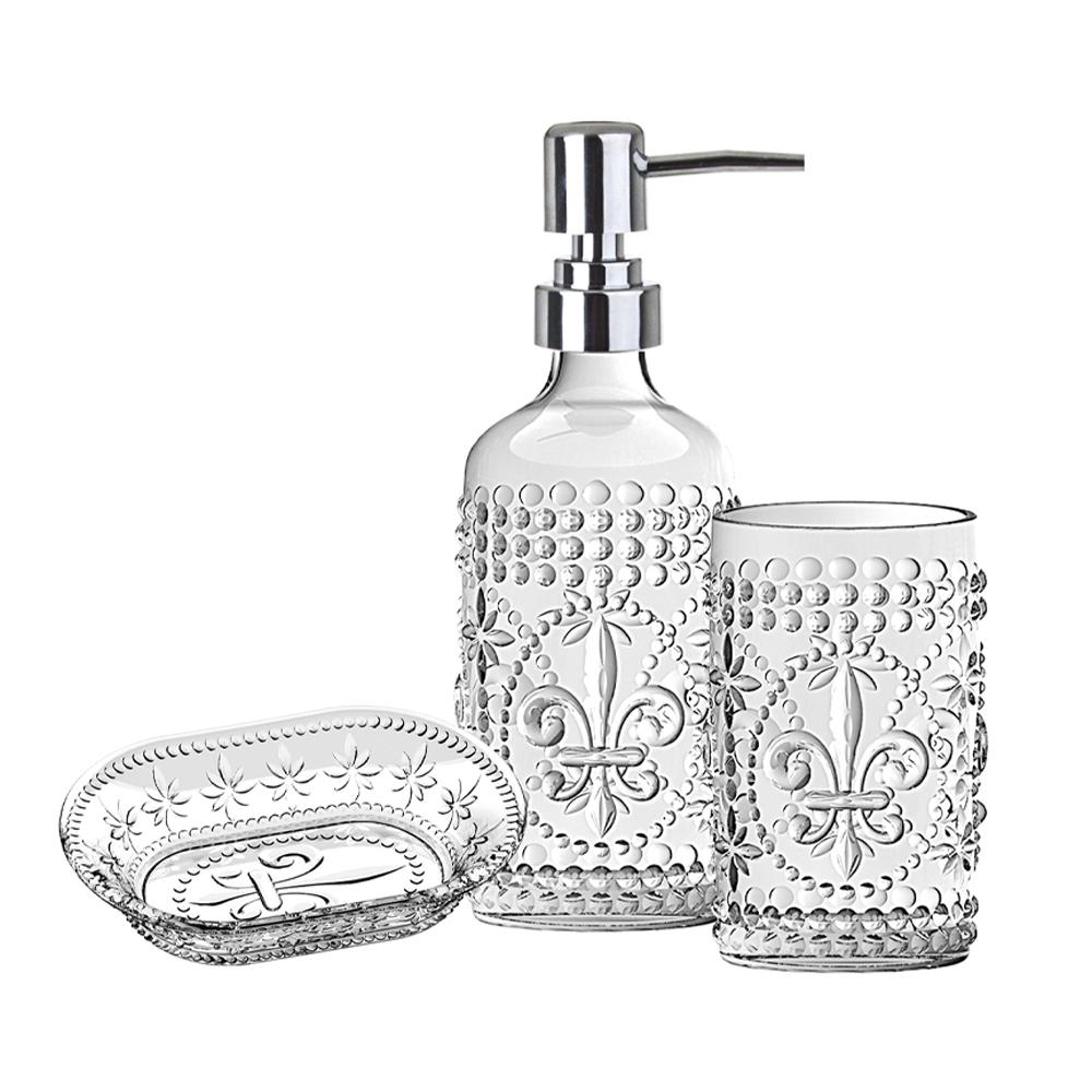 Conjunto para Banheiro 3 Peças de Vidro 1 Porta Sabonete Líquido 1 Porta Escova de Dentes 1 Saboneteira Clear
