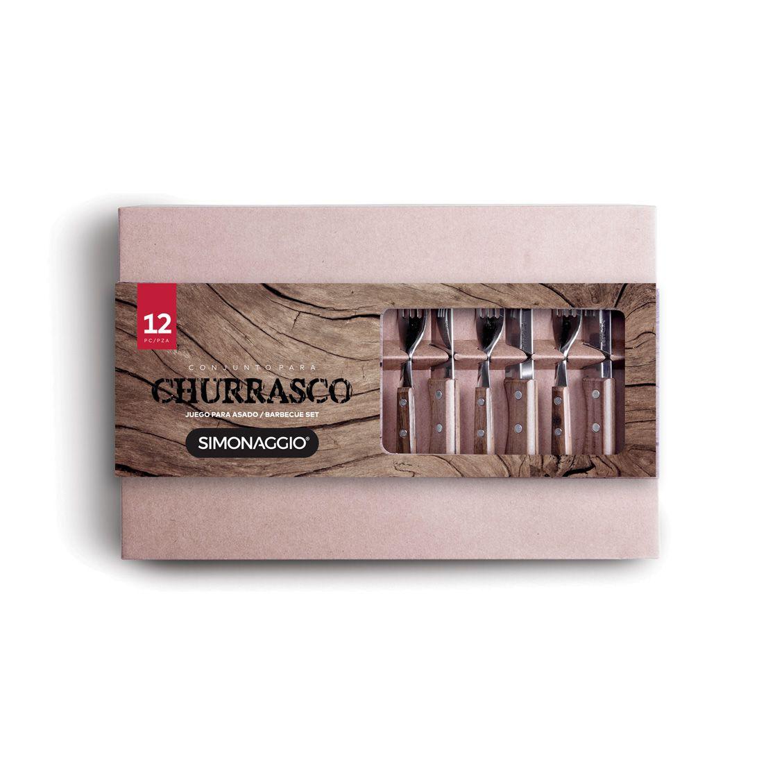 Conjunto para Churrasco 12 Peças de Aço Inox com Cabo de Madeira