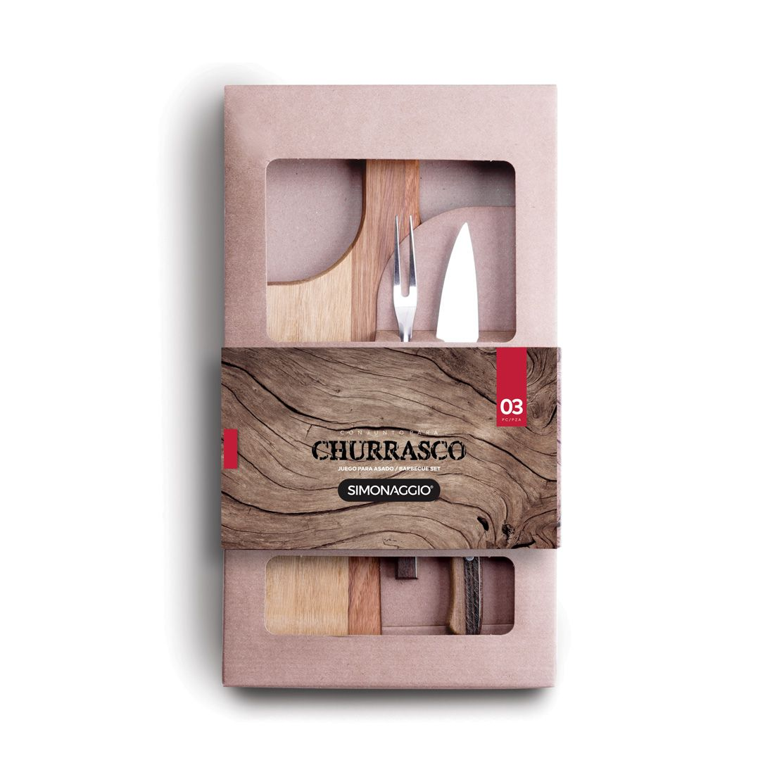 Conjunto para Churrasco 3 Peças de Aço Inox com Cabo de Madeira 1 Faca Peixeira 1 Garfo Trinchante 1 Tábua de Madeira