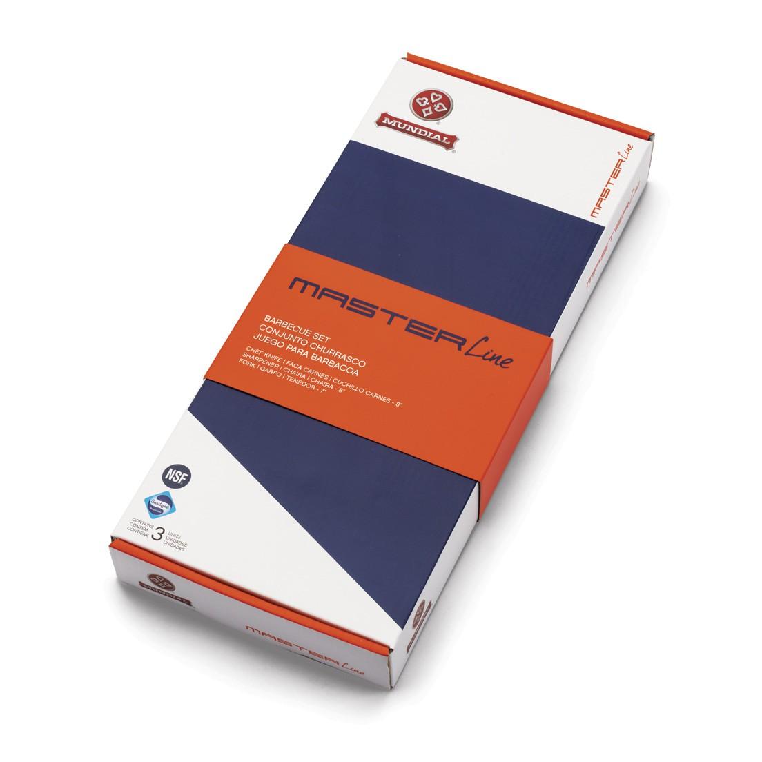 Conjunto para Churrasco 3 Peças de Aço Inox Faca Carne 8 Chaira 8 Garfo 7 Branco Master Line Mundial
