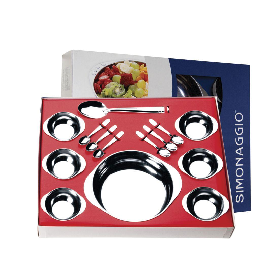 Conjunto para Sobremesa Simonaggio Moniz de Aço Inox com Saladeira 14 Peças