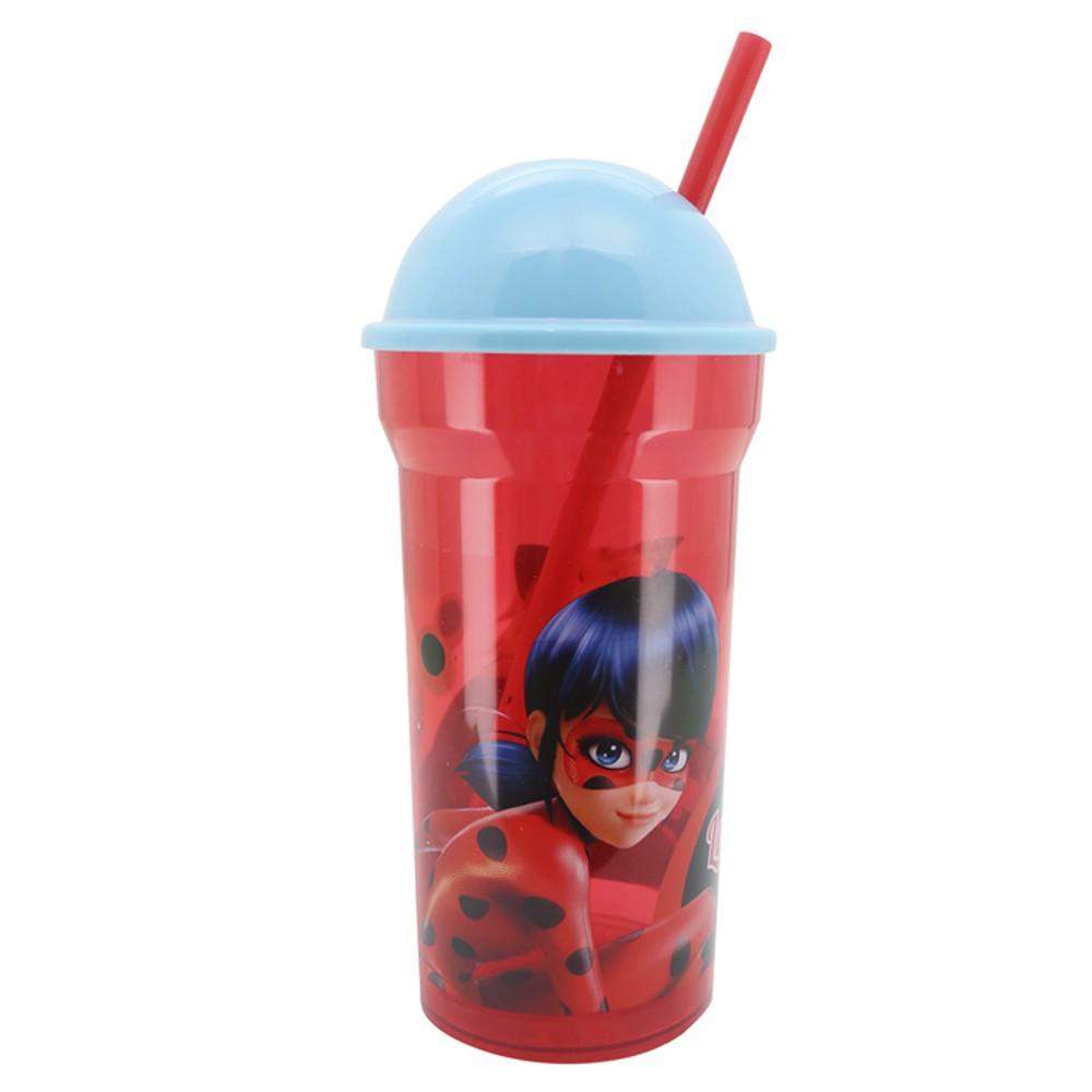 Copo 450Ml Infantil de Plástico com Tampa e Canudo Funny Miraculous Ladybug