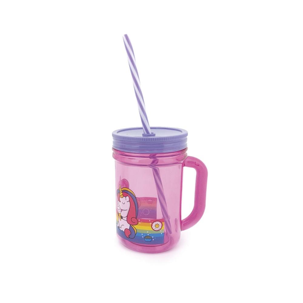 Copo 402Ml Infantil de Plástico com Tampa e Canudo Happy Sortido