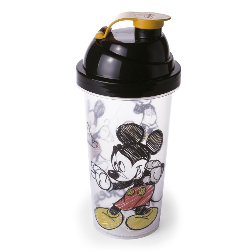 Copo 580Ml Shakeira de Polipropileno com Tampa de Rosca e Sobretampa Articulada Mickey Vintage
