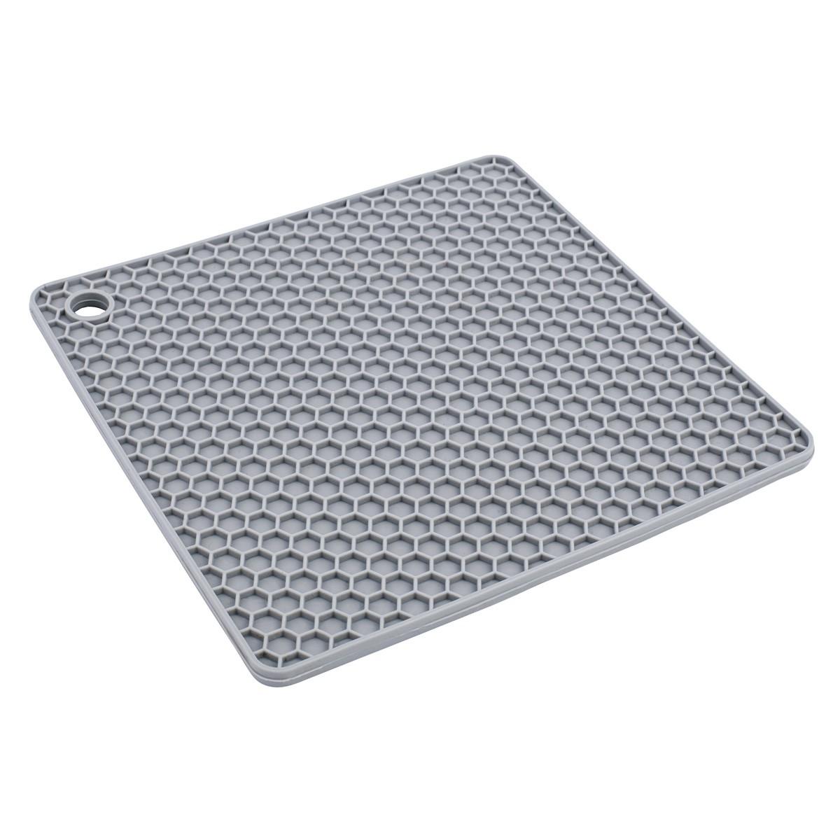 Descanso para Panela de Silicone Quadrado Cinza 24Cm