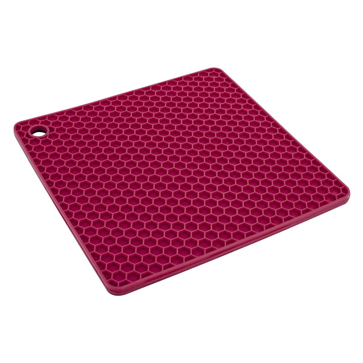 Descanso para Panela de Silicone Quadrado Vermelho 24Cm
