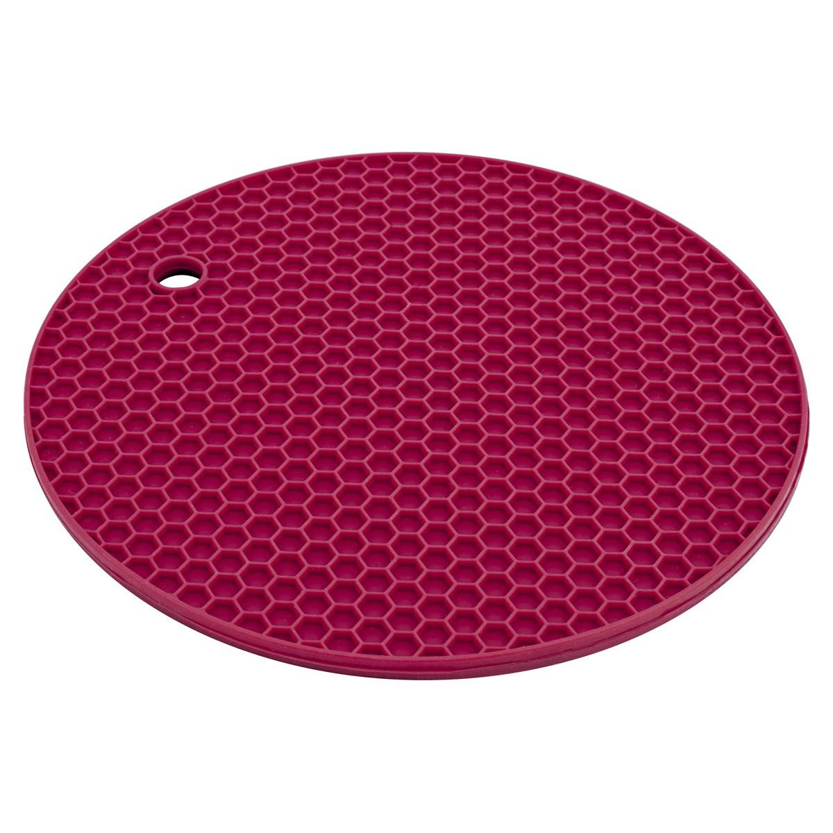 Descanso para Panela de Silicone Redondo Vermelho 18Cm