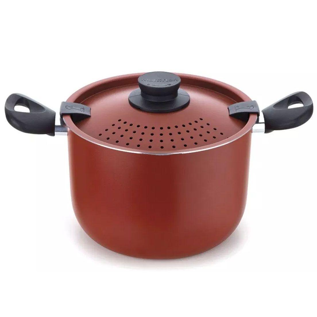 Panela Espagueteira de Alumínio Versátil Colapasta Vermelha 22Cm
