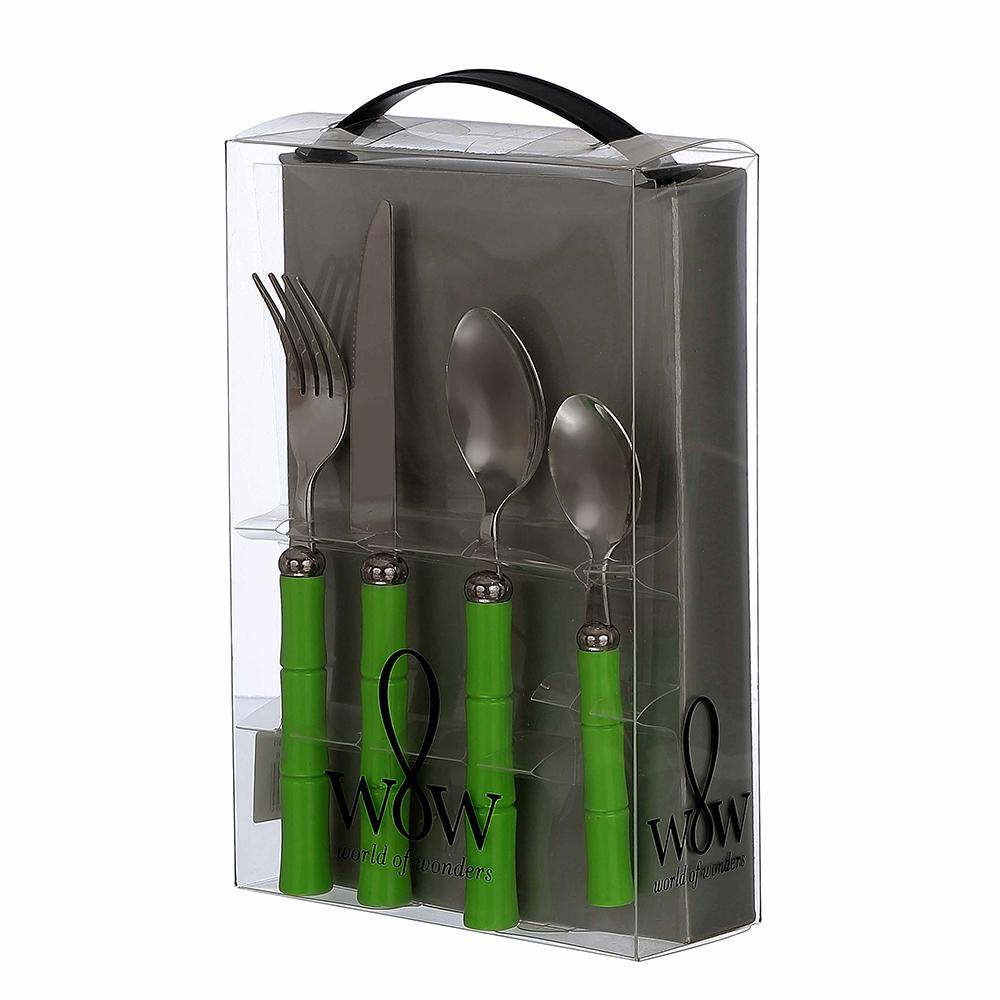 Faqueiro 24 Peças de Aço Inox Emborrachado com Caixa de Papelão Bambu Verde Wow