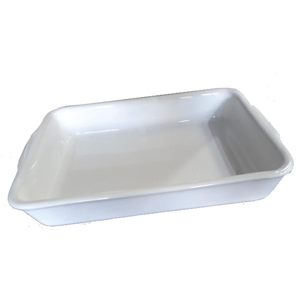 Forma Assadeira 37Cm  para Micro-Ondas, Forno Convencional e Elétrico de Cerâmica Retangular Branca